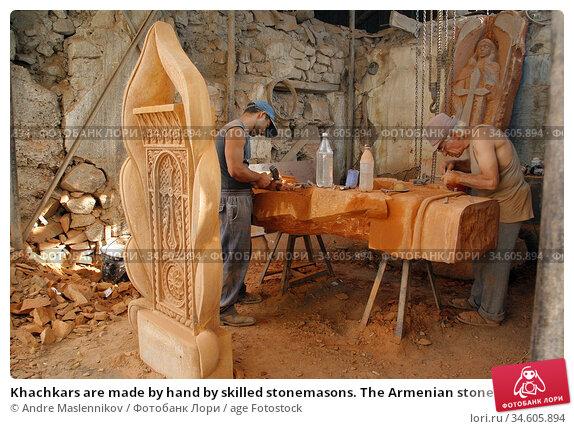 Khachkars are made by hand by skilled stonemasons. The Armenian stone... (2006 год). Редакционное фото, фотограф Andre Maslennikov / age Fotostock / Фотобанк Лори