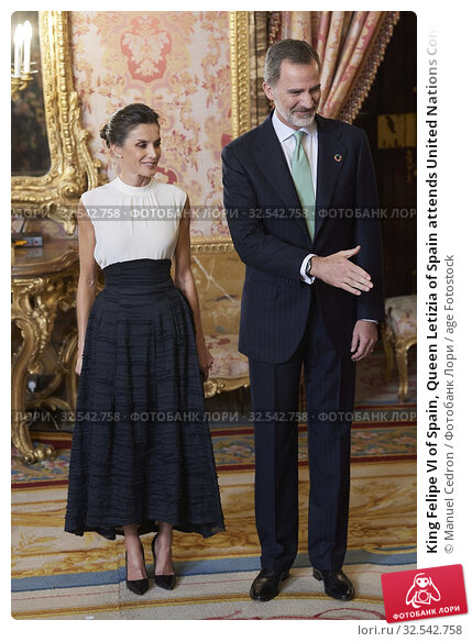 Купить «King Felipe VI of Spain, Queen Letizia of Spain attends United Nations Conference on Climate Change (COP25) reception at Royal Palace on December 2, 2019 in Madrid, Spain», фото № 32542758, снято 2 декабря 2019 г. (c) age Fotostock / Фотобанк Лори