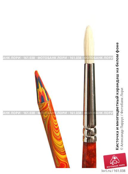 Кисточка и многоцветный карандаш на белом фоне, фото № 161038, снято 9 октября 2006 г. (c) Александр Паррус / Фотобанк Лори