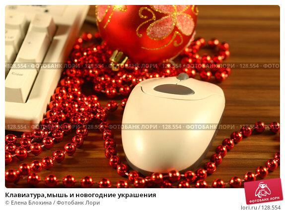 Клавиатура,мышь и новогодние украшения, фото № 128554, снято 13 ноября 2007 г. (c) Елена Блохина / Фотобанк Лори