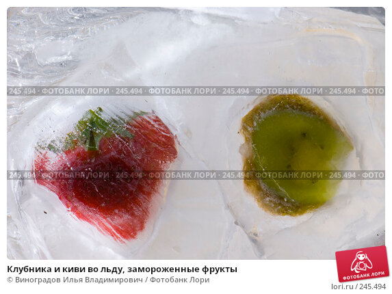 Клубника и киви во льду, замороженные фрукты, фото № 245494, снято 7 декабря 2007 г. (c) Виноградов Илья Владимирович / Фотобанк Лори