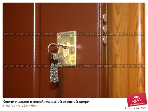 Купить «Ключи и замок в новой железной входной двери», фото № 243522, снято 16 июня 2005 г. (c) Harry / Фотобанк Лори