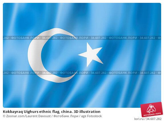 Kokbayraq Uighurs ethnic flag, china. 3D illustration. Стоковое фото, фотограф Zoonar.com/Laurent Davoust / age Fotostock / Фотобанк Лори