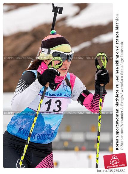 Korean sportswoman biathlete Yu Seolhee skiing on distance biathlon... Стоковое фото, фотограф Zoonar.com/Alexander A. Piragis / age Fotostock / Фотобанк Лори