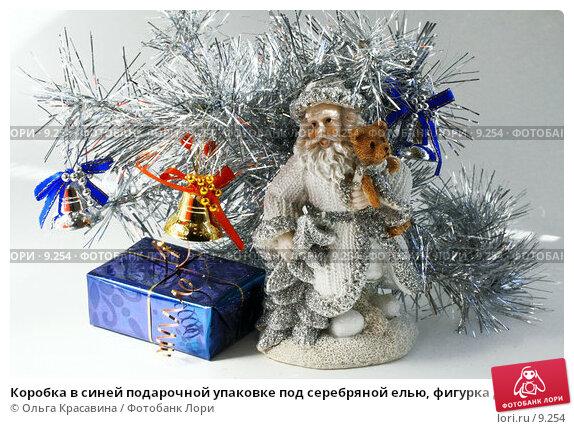 Коробка в синей подарочной упаковке под серебряной елью, фигурка Деда Мороза, фото № 9254, снято 3 сентября 2006 г. (c) Ольга Красавина / Фотобанк Лори
