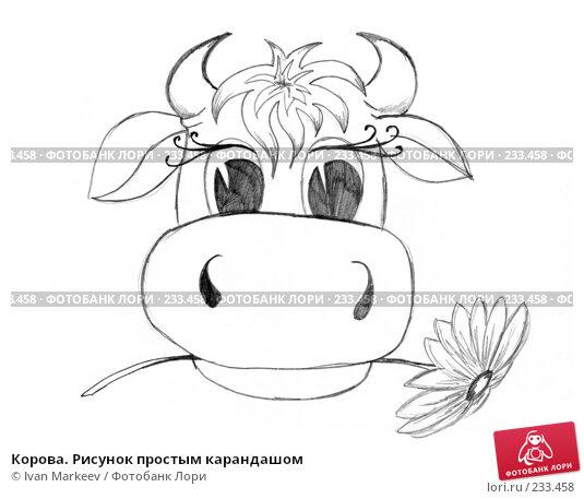 Корова. Рисунок простым карандашом, иллюстрация № 233458 (c) Василий Каргандюм / Фотобанк Лори