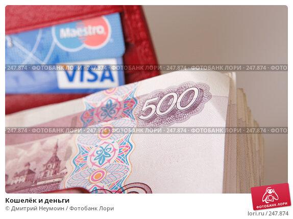 Купить «Кошелёк и деньги», эксклюзивное фото № 247874, снято 8 апреля 2008 г. (c) Дмитрий Неумоин / Фотобанк Лори