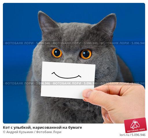 Нарисованный кот с улыбкой