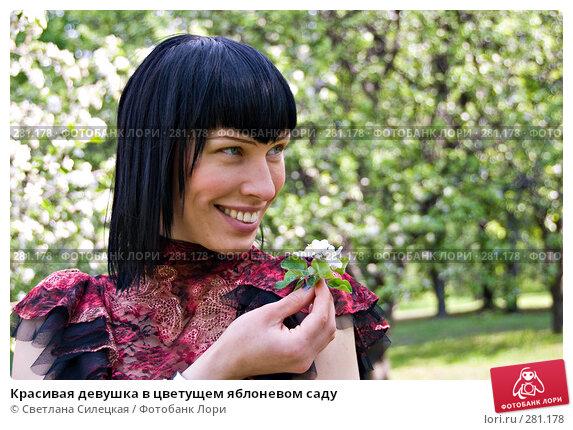 Красивая девушка в цветущем яблоневом саду, фото № 281178, снято 12 мая 2008 г. (c) Светлана Силецкая / Фотобанк Лори