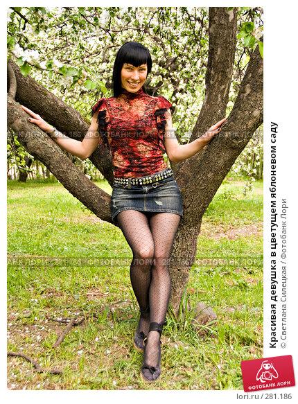 Красивая девушка в цветущем яблоневом саду, фото № 281186, снято 12 мая 2008 г. (c) Светлана Силецкая / Фотобанк Лори