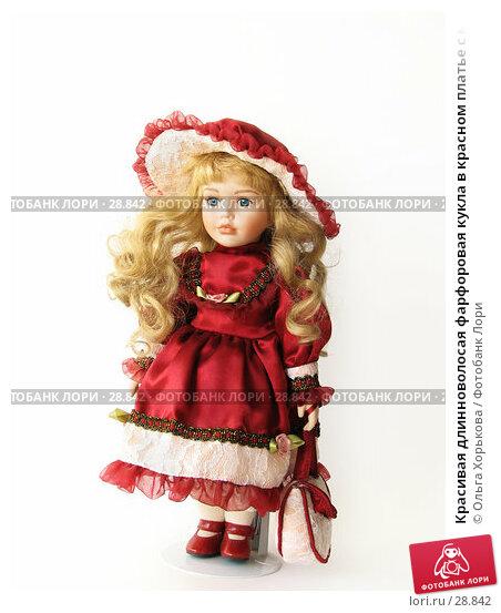Купить «Красивая длинноволосая фарфоровая кукла в красном платье с маленькой сумочкой», фото № 28842, снято 31 марта 2007 г. (c) Ольга Хорькова / Фотобанк Лори