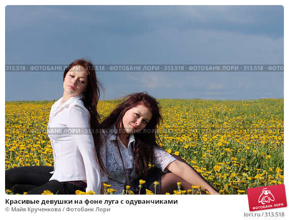 Красивые девушки на фоне луга с одуванчиками, фото № 313518, снято 14 мая 2008 г. (c) Майя Крученкова / Фотобанк Лори