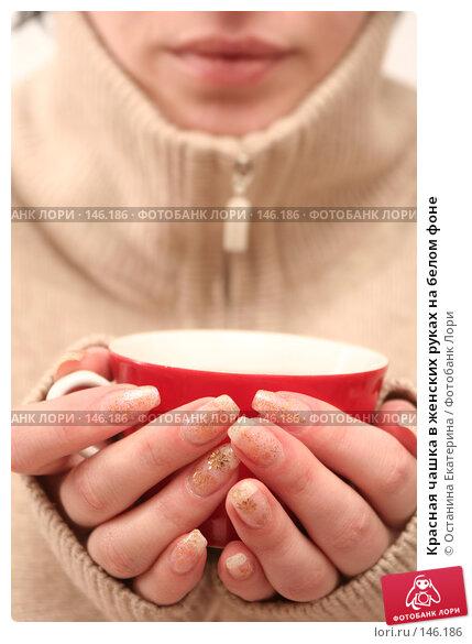 Купить «Красная чашка в женских руках на белом фоне», фото № 146186, снято 8 декабря 2007 г. (c) Останина Екатерина / Фотобанк Лори