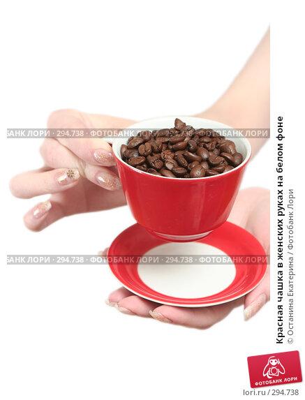 Красная чашка в женских руках на белом фоне, фото № 294738, снято 8 декабря 2007 г. (c) Останина Екатерина / Фотобанк Лори