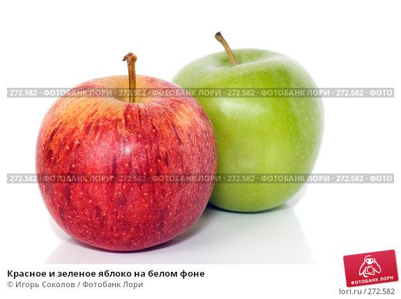 Красное и зеленое яблоко на белом фоне, фото № 272582, снято 28 апреля 2008 г. (c) Игорь Соколов / Фотобанк Лори