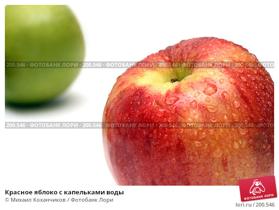 Красное яблоко с капельками воды, фото № 200546, снято 6 февраля 2008 г. (c) Михаил Коханчиков / Фотобанк Лори