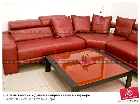 Красный кожаный диван в современном интерьере, фото № 223638, снято 23 августа 2017 г. (c) Баевский Дмитрий / Фотобанк Лори