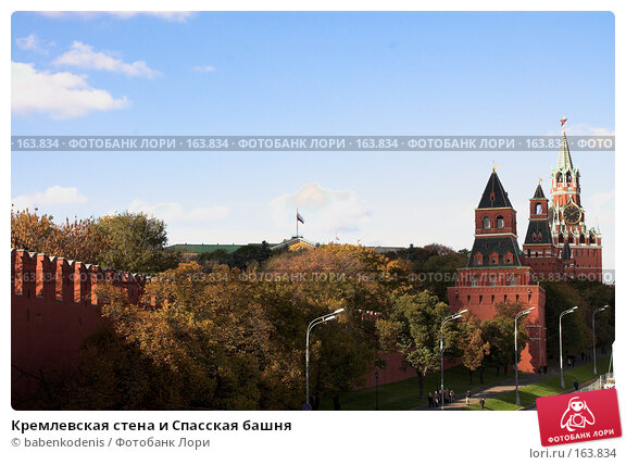 Купить «Кремлевская стена и Спасская башня», фото № 163834, снято 20 октября 2005 г. (c) Бабенко Денис Юрьевич / Фотобанк Лори