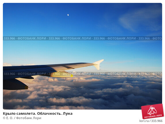 Купить «Крыло самолета. Облачность. Луна», фото № 333966, снято 14 июня 2008 г. (c) Екатерина Овсянникова / Фотобанк Лори