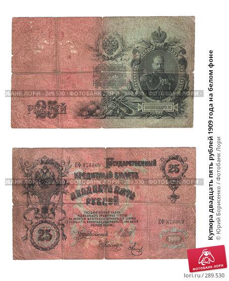 Купюра двадцать пять рублей 1909 года на белом фоне, фото № 289530, снято 30 марта 2017 г. (c) Юрий Борисенко / Фотобанк Лори