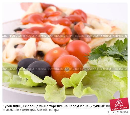 Кусок пиццы с овощами на тарелке на белом фоне (крупный план), фото № 188986, снято 27 января 2008 г. (c) Мельников Дмитрий / Фотобанк Лори