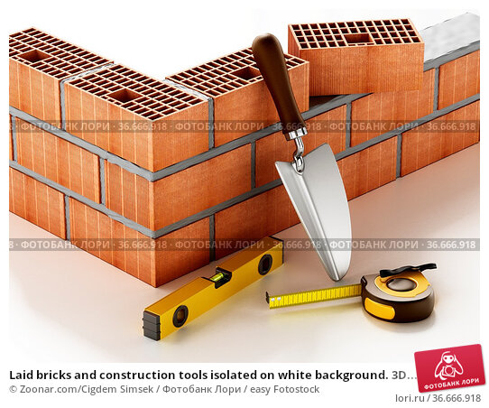 Laid bricks and construction tools isolated on white background. 3D... Стоковое фото, фотограф Zoonar.com/Cigdem Simsek / easy Fotostock / Фотобанк Лори