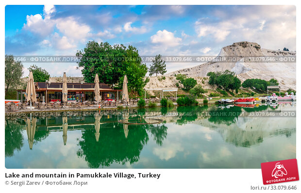 Купить «Lake and mountain in Pamukkale Village, Turkey», фото № 33079646, снято 15 июля 2019 г. (c) Sergii Zarev / Фотобанк Лори