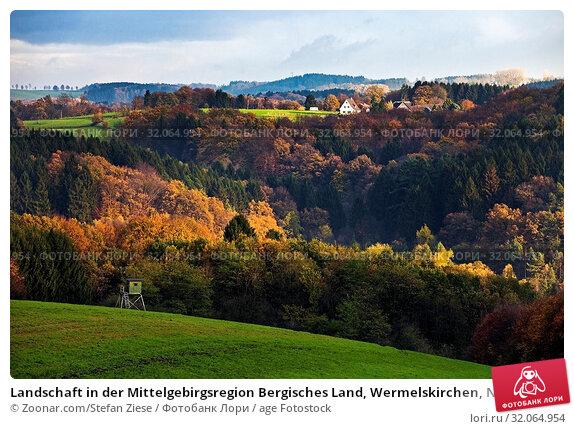 Landschaft in der Mittelgebirgsregion Bergisches Land, Wermelskirchen, Nordrhein-Westfalen, Deutschland, Europa. Стоковое фото, фотограф Zoonar.com/Stefan Ziese / age Fotostock / Фотобанк Лори