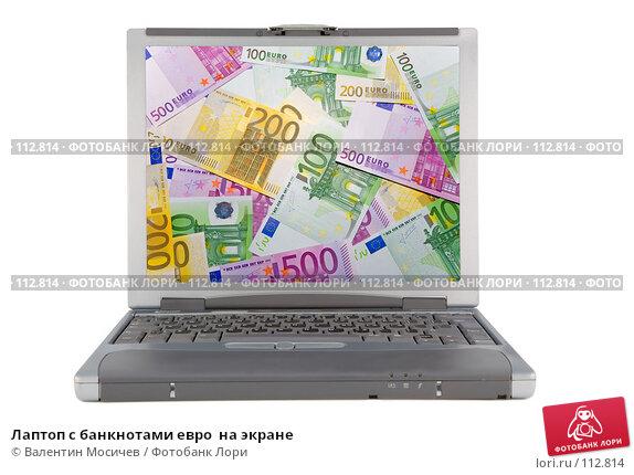 Лаптоп с банкнотами евро  на экране, фото № 112814, снято 16 февраля 2007 г. (c) Валентин Мосичев / Фотобанк Лори