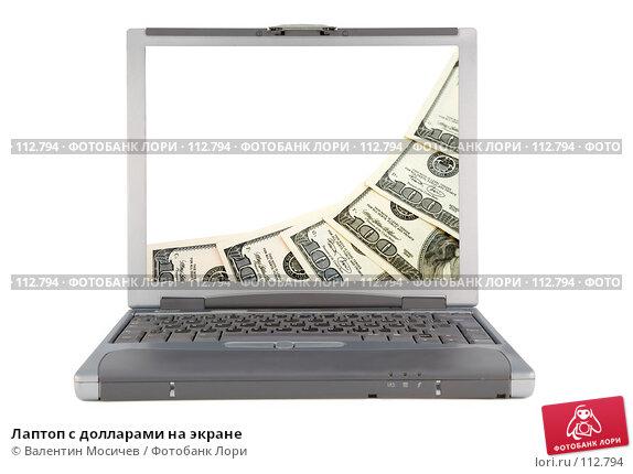 Лаптоп с долларами на экране, фото № 112794, снято 16 февраля 2007 г. (c) Валентин Мосичев / Фотобанк Лори
