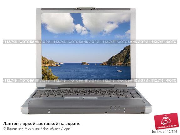 Лаптоп с яркой заставкой на экране, фото № 112746, снято 16 февраля 2007 г. (c) Валентин Мосичев / Фотобанк Лори