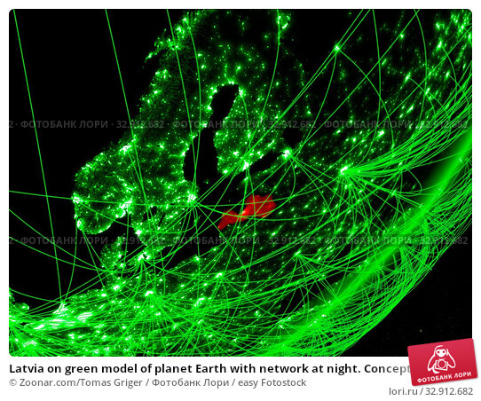 Latvia on green model of planet Earth with network at night. Concept of green technology, communication and travel. 3D illustration. Elements of this image furnished by NASA. Стоковое фото, фотограф Zoonar.com/Tomas Griger / easy Fotostock / Фотобанк Лори