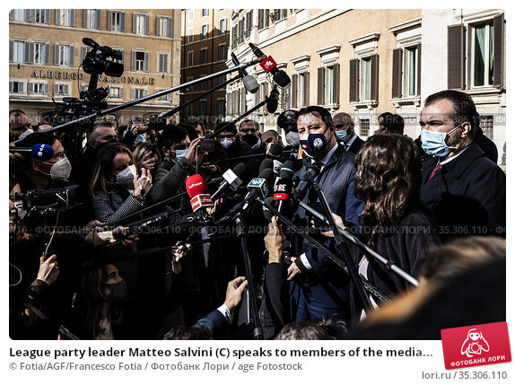 League party leader Matteo Salvini (C) speaks to members of the media... Редакционное фото, фотограф Fotia/AGF/Francesco Fotia / age Fotostock / Фотобанк Лори