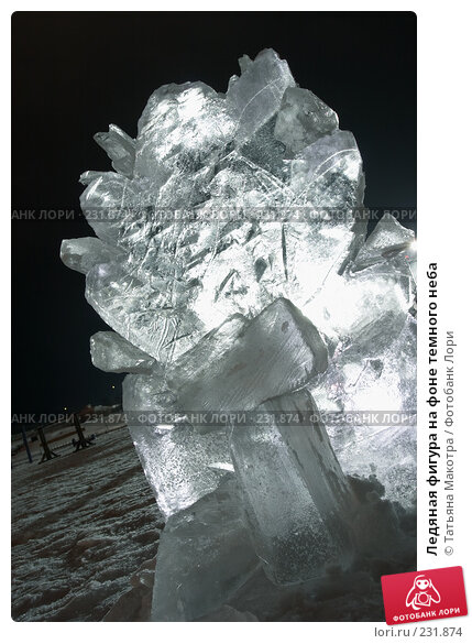 Ледяная фигура на фоне темного неба, фото № 231874, снято 27 декабря 2007 г. (c) Татьяна Макотра / Фотобанк Лори