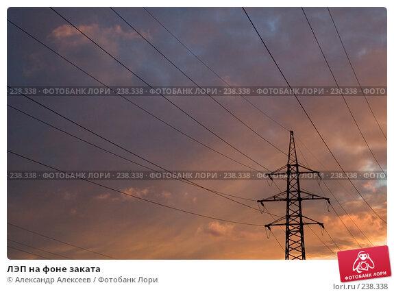 ЛЭП на фоне заката, эксклюзивное фото № 238338, снято 17 декабря 2006 г. (c) Александр Алексеев / Фотобанк Лори