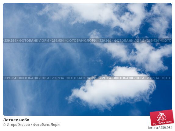 Летнее небо, фото № 239934, снято 6 августа 2007 г. (c) Игорь Жоров / Фотобанк Лори