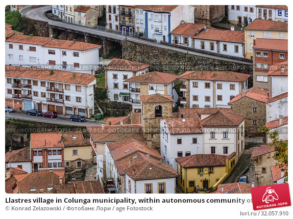 Llastres village in Colunga municipality, within autonomous community of Asturias, in northern Spain. Стоковое фото, фотограф Konrad Zelazowski / age Fotostock / Фотобанк Лори