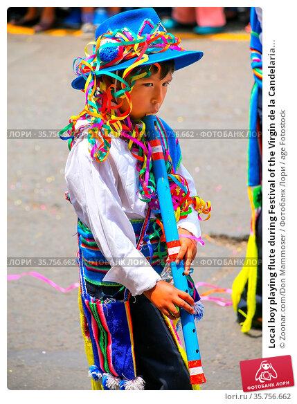 Local boy playing flute during Festival of the Virgin de la Candelaria... Стоковое фото, фотограф Zoonar.com/Don Mammoser / age Fotostock / Фотобанк Лори