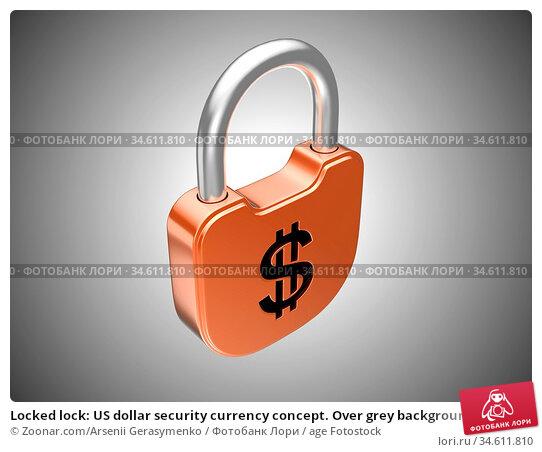 Locked lock: US dollar security currency concept. Over grey background. Стоковое фото, фотограф Zoonar.com/Arsenii Gerasymenko / age Fotostock / Фотобанк Лори