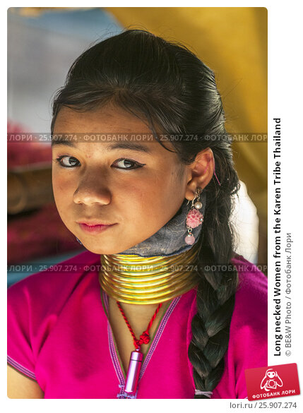 Купить «Long necked Women from the Karen Tribe Thailand», фото № 25907274, снято 23 апреля 2019 г. (c) BE&W Photo / Фотобанк Лори