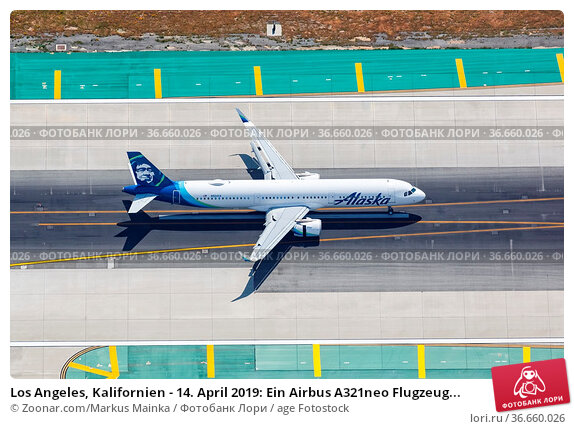 Los Angeles, Kalifornien - 14. April 2019: Ein Airbus A321neo Flugzeug... Стоковое фото, фотограф Zoonar.com/Markus Mainka / age Fotostock / Фотобанк Лори