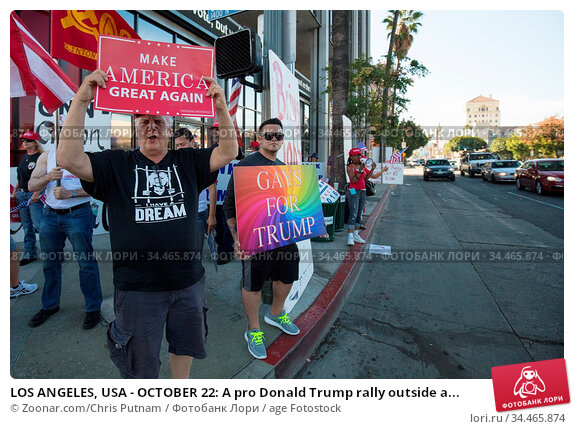 LOS ANGELES, USA - OCTOBER 22: A pro Donald Trump rally outside a... Стоковое фото, фотограф Zoonar.com/Chris Putnam / age Fotostock / Фотобанк Лори
