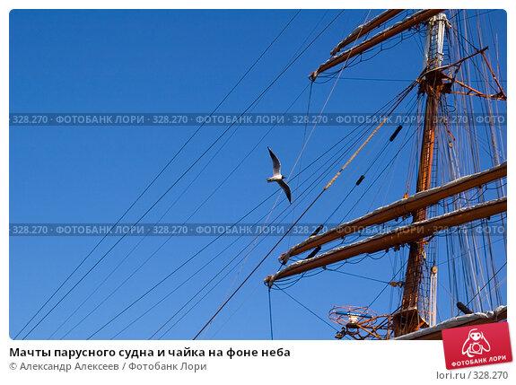 Мачты парусного судна и чайка на фоне неба, эксклюзивное фото № 328270, снято 19 июня 2008 г. (c) Александр Алексеев / Фотобанк Лори