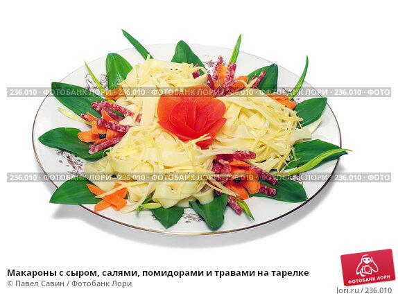 Макароны с сыром, салями, помидорами и травами на тарелке, фото № 236010, снято 23 июля 2017 г. (c) Павел Савин / Фотобанк Лори