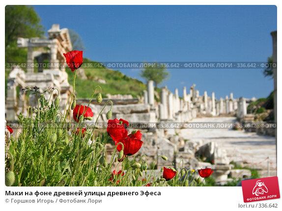 Маки на фоне древней улицы древнего Эфеса, фото № 336642, снято 3 апреля 2007 г. (c) Горшков Игорь / Фотобанк Лори