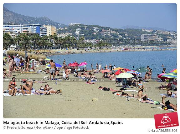 Malagueta beach in Malaga, Costa del Sol, Andalusia,Spain. Редакционное фото, фотограф Frederic Soreau / age Fotostock / Фотобанк Лори