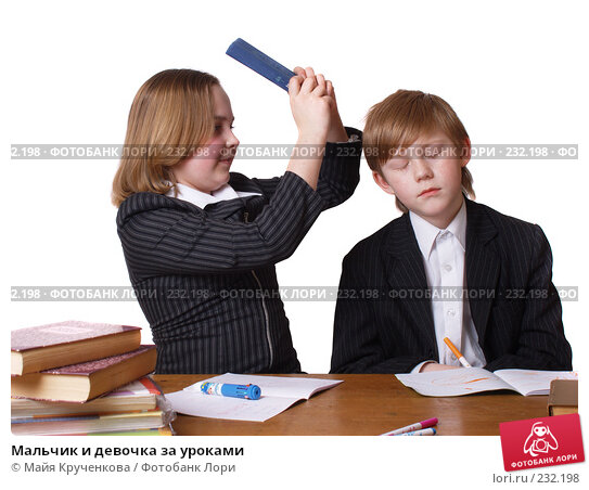 Мальчик и девочка за уроками, фото № 232198, снято 15 марта 2008 г. (c) Майя Крученкова / Фотобанк Лори