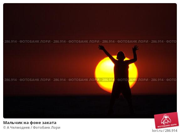 Купить «Мальчик на фоне заката», фото № 286914, снято 1 июля 2007 г. (c) A Челмодеев / Фотобанк Лори
