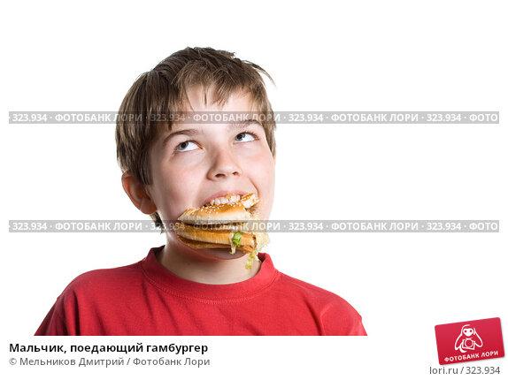 Мальчик, поедающий гамбургер, фото № 323934, снято 28 мая 2008 г. (c) Мельников Дмитрий / Фотобанк Лори
