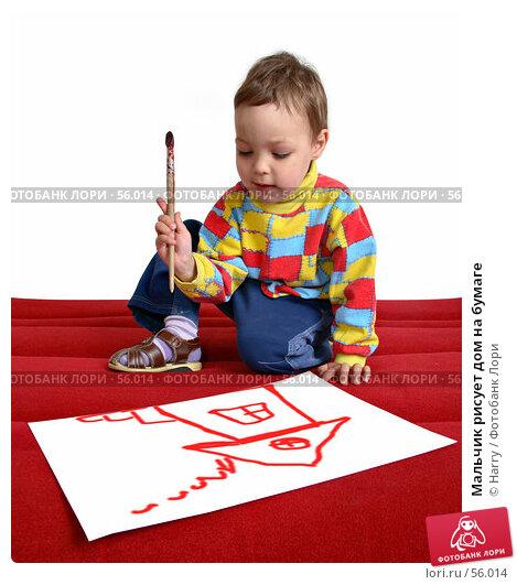 Мальчик рисует дом на бумаге, фото № 56014, снято 4 июня 2007 г. (c) Harry / Фотобанк Лори